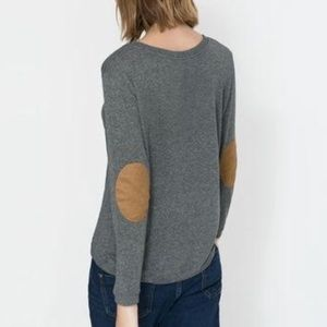 Zara Pullover / Contrast Faux Suede Elbow Patches